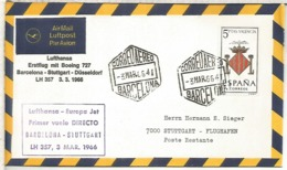 CC PRIMER VUELO BARCELONA STUTTGART 1966 LUFTHANSAMAT HEXAGONAL AL DORSO LLEGADA - Aéreo