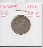 SINGAPORE COIN  20 CENTS-1986-USED AS SCAN(Kbx2) - Singapore