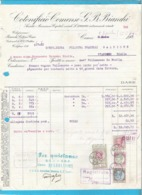 Fattura 1929 - Cotonificio Comense Bianchi Como - Marche Da Bollo - Fiscali