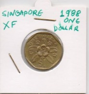 SINGAPORE COIN  1 DOLLAR-1988-USED AS SCAN(Kbx2) - Singapore