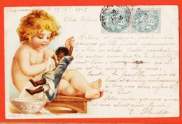 ILL047 RAPHAEL TUCK Série 43-2 UN MOT à La POSTE Bébé Poupée Noire-PECQUENCOURT 1905  à BLANCHETTE  Pont-Sainte-Maxence - Tuck, Raphael