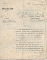 Lettre Du Vice-président De La Municipalité De Bizerte (Tunisie), 25/1/1907 - Documents Historiques