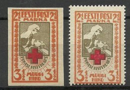 ESTONIA Estonie 1921 Michel 29 A + B * Red Cross - Estland