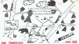 Somers Montana Very Old QSL From Calvin McDonald The Timber Jack (1969) With Bear - CB