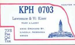 Lincoln Nebraska Very Old QSL From Lawrence & Vi Kiser, Orchard St. (1969) - CB