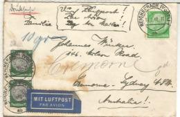 ALEMANIA 3 REICH 1939 REICHENBACH A AUSTRALIA CORREO AEREO - Alemania
