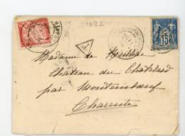"""TAXE 30 Cts N° 33 + SAGE N° Yt 101 OBLI. CàD DE CLERMONT FERRAND & MONTEMBOEUF + GRIFFE """"T"""" & AU DOS CàD DE MONTEMBOEUF - Postmark Collection (Covers)"""