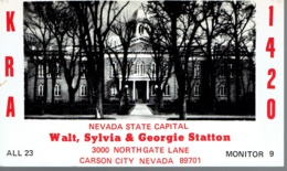 Carson City Nevada State Capital Very Old QSL From Walt, Sylvia & Georgie Statton Northgate Lane (1968) - CB