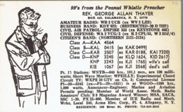 Salamanca NY Very Old QSL From Rev George Allan Thayer, The Peanut Whistle Preacher (1967) - CB