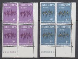 Europa Cept 1972 Luxemburg 2v Bl Of 4 (corner) ** Mnh (44698E) - 1972