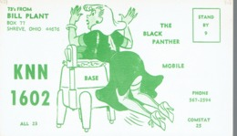 Shreve Ohio Very Old QSL From Bill Plant The Black Panther (1967) With Sexy Woman - CB