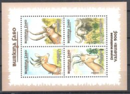 RRR _._ Burkina Faso Sheet Mnh ** (min 225 USD Cash Each Time On Ebay) Animals Antilope Buffalo - Burkina Faso (1984-...)