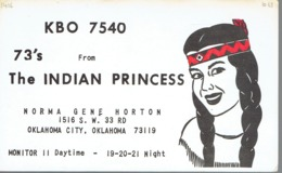Oklahoma City Very Old QSL From Norma Gene Horton The Indian Princess (1968) - CB