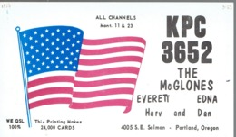 Portland Oregon Very Old QSL From Everett & Edna McGlone S.E. Salmon With American Flag (1967) - CB