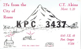 Portland Oregon The City Of Roses Very Old QSL From C.T. Akins (1967) - CB