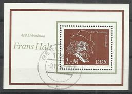 """DDR Bl.61 """"400. Geburtstag Von Frans Hals""""  Gestempelt.Mi 5,00 - DDR"""