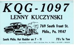 Philadelphia Pa Very Old QSL From Lenny Kuczynski Hot Rodder Sth Front St (1968) - CB