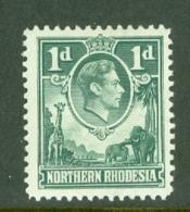 Northern Rhodesia: 1938/52   KGVI     SG28   1d  Green    MH - Rhodesia Del Nord (...-1963)
