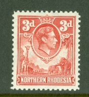 Northern Rhodesia: 1938/52   KGVI     SG35   3d   Scarlet   MH - Rhodésie Du Nord (...-1963)