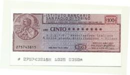 1976 - Italia - Istituto Bancario San Paolo Di Torino - A.I.G.I.D. Ass. Italiana Della Grande Distribuzione - Milano - [10] Scheck Und Mini-Scheck