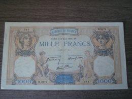 1000 FRANCS CERES ET MERCURE DU 18/04/1940 SERIE M 9476 - 1871-1952 Anciens Francs Circulés Au XXème