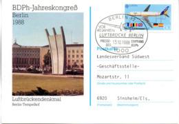 "(Bu-B1) BRD Sonderkarte ""vor 40 Jahren Berliner Luftbrücke"" EF BRD Mi 1367 SSt 13.10.1988 BERLIN 12 - BRD"