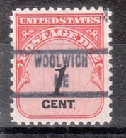 USA Precancel Vorausentwertung Preo, Locals Maine, Woolwich 853 - Vereinigte Staaten