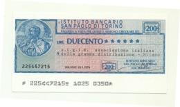 1976 - Italia - Istituto Bancario San Paolo Di Torino - A.I.G.I.D. Ass. Italiana Della Grande Distribuzione - Milano - [10] Assegni E Miniassegni