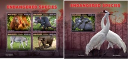Maldives 2019 Endangered Species Orangutan Monkey Elephant MS+S/S MLD190607a - Sin Clasificación