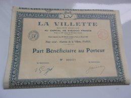 LA VILLETTE Abattoirs De La Villette PARIS - Actions & Titres