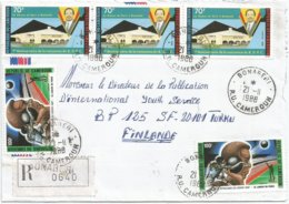 Cameroon Cameroun 1988 Bonaberi Shot-putting Political Party House Registered Cover - Kameroen (1960-...)