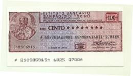 1976 - Italia - Istituto Bancario San Paolo Di Torino - Associazione Commercianti - Torino - [10] Assegni E Miniassegni