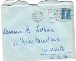 O.MEC FLIER PARIS XVI PLACE CHOPIN JEUX OLYMPIQUES PARIS 1924 SUR ENVELOPPE - Oblitérations Mécaniques (flammes)