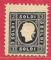 Lombardie-Vénétie N°11 3s Noir (type II) 1858-62 (faux / False /  Falso) (*) - Lombardo-Venetien