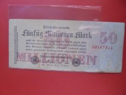 Reichsbanknote 50 MILLIONEN MARK 1923 CIRCULER (B.8) - [ 3] 1918-1933 : Repubblica  Di Weimar