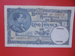 BELGIQUE 5 FRANCS 1927  BELLE QUALITE CIRCULER (B.8) - 5 Franchi