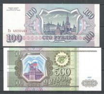 Russia 1993 , 2 Banknotes 100 & 500 RUB. UNC - Russia