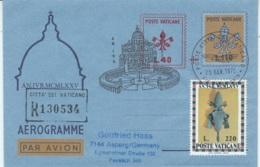 Aerogramma Vaticano 1975 L. 110 + L. 40 In Raccomandata Per La Germania - Postal Stationeries