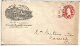 ESTADOS UNIDOS  ENTERO POSTAL 1915 EVANSVILLE MERCANTILE ASSOCIATION WISCONSIN - Cartas