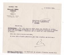 Courrier 1946 Vins Edouard Péru, Corbehem, Pas-de-Calais, à Lucien Foucauld & Cie Distillateur Cognac - Autres