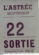 42 LOIRE. Montbrison - Ticket De Sortie. Cinéma L'Astrée Montbrison - - Tickets D'entrée