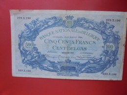 BELGIQUE 500 FRANCS 1934 CIRCULER (B.8) - 500 Franchi-100 Belgas