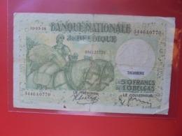BELGIQUE 50 FRANCS 1938 CIRCULER (B.8) - [ 2] 1831-... : Reino De Bélgica