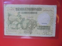 BELGIQUE 50 FRANCS 1943 CIRCULER (B.8) - [ 2] 1831-... : Belgian Kingdom
