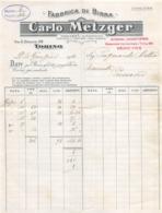 """08663 """"CARLO METZGER - FABBRICA DI BIRRA - TORINO VIA SAN DONATO 68 - FATTURA 1912"""" ORIG. - Italia"""