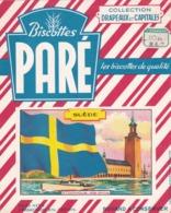 Buvard Biscottes Paré, Drapeaux Et Capitales, SUEDE / STOCKHOLM / RARE - Biscottes