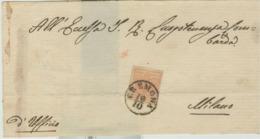LOMBARDO VENETO- Lettera( Coperta Recto Senza  Testo )- 10 Ottobre-CREMONA-MILANO, Cent 15 Rosa Salmone,ben Marginato, - Lombardo-Veneto