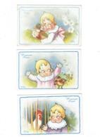 Lot 3 Cpa Illustration  Bertiglia, A.  Fillette ENFANT Bébé - Heureuses PÂQUES - Volaille Poule Poussin Canard - Bertiglia, A.