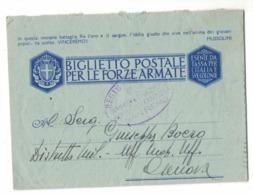 RB131    Biglietto Postale FRANCHIGIA Forze Armate Da San Remo X Genova 1942 - Storia Postale