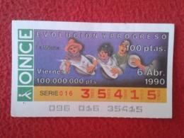 SPAIN CUPÓN DE ONCE LOTTERY LOTERÍA ESPAÑA 1990 EVOLUCIÓN Y PROGRESO EVOLUTION AND PROGRESS LA MÚSICA THE MUSIC MUSIQUE - Billetes De Lotería